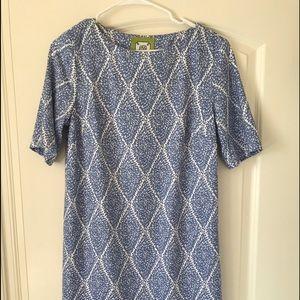Elizabeth McKay 3/4 Sleeve Blue Shift Dress